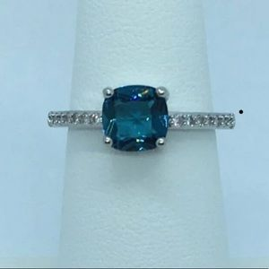 Genuine aquamarine Sterling Silver Ring